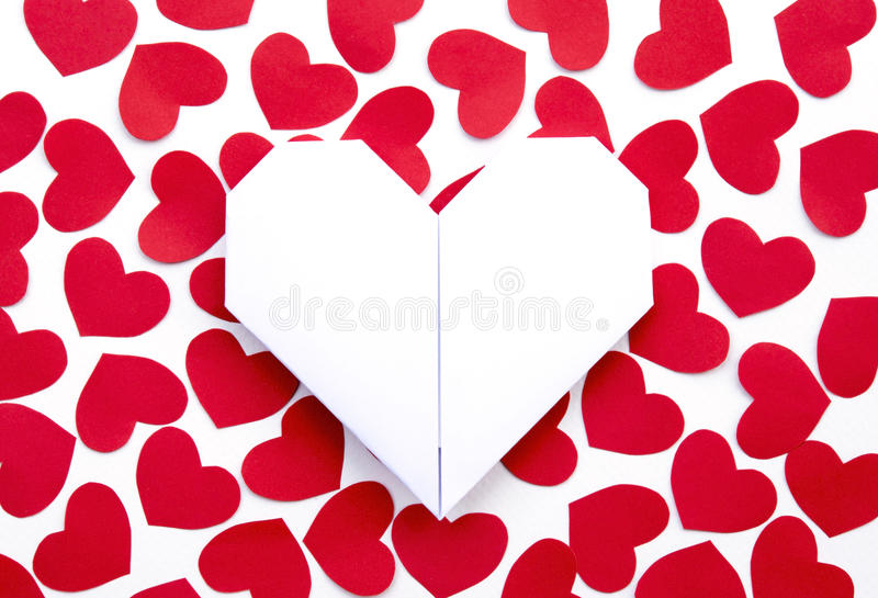 Paper Hearts on paper royalty free stock images