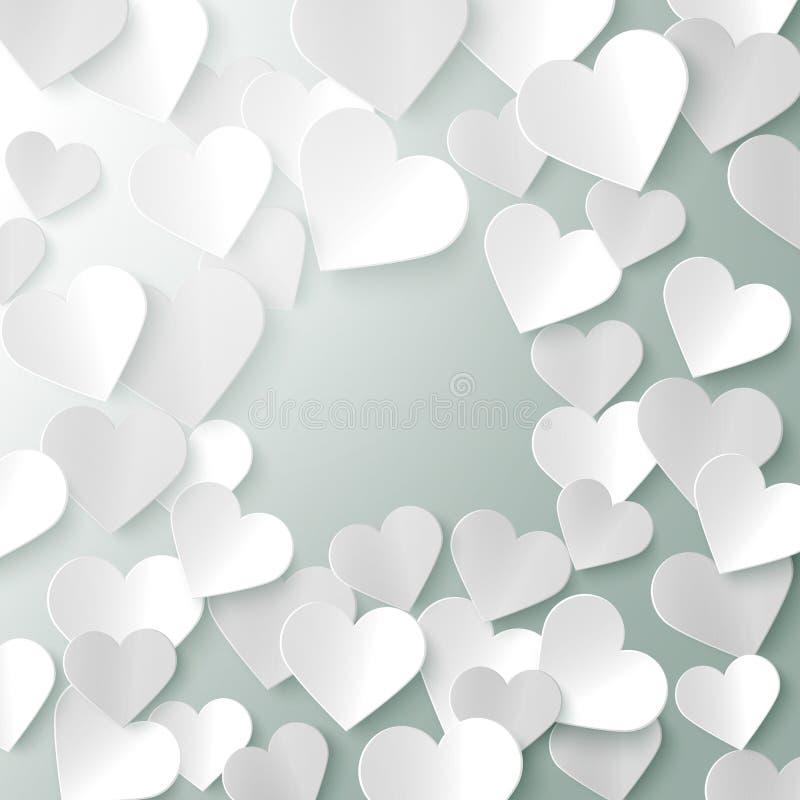 Paper hearts romantic Valentine background template, vector illustration. Design royalty free illustration