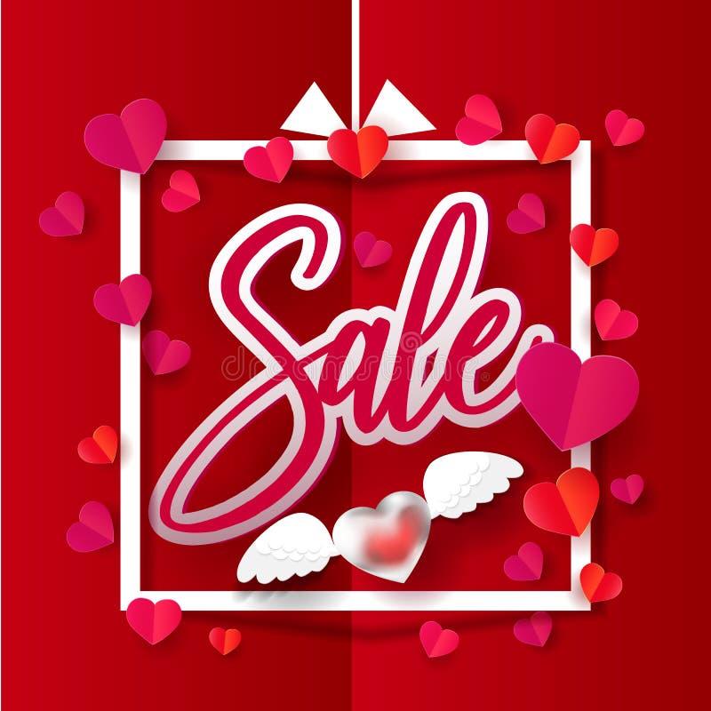 Paper hearts in Sale frame banner vector illustration