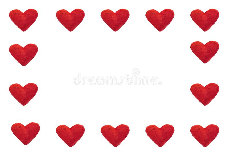 Paper hearts in square pattern. Handmade paper hearts in square pattern, symbolizing love, Valentines` Day card concept, with copy space royalty free illustration