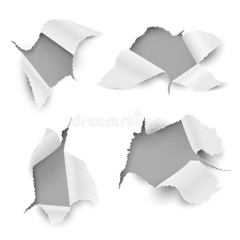 Paper holes. Ragged torn sheet realistic ripped page sticker bullet hole card rip edge promotional. White text message. Hole vector set stock illustration