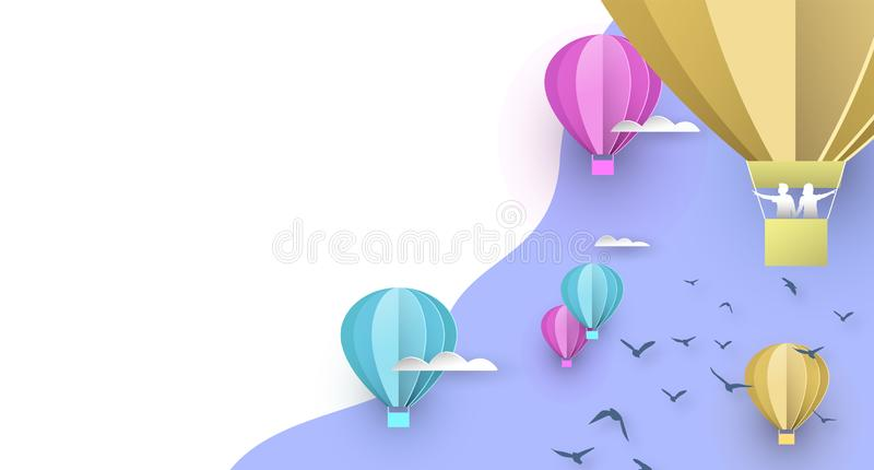 Paper hot air balloon white copy space background. Papercut hot air balloon background on sky with clouds, people and birds. White copy space backdrop for royalty free illustration