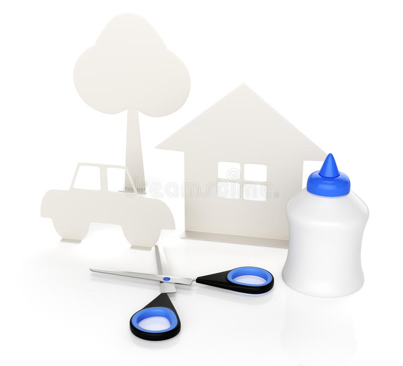 Paper house and car vector illustration