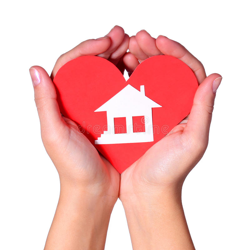 Paper House in Female Hands isolated royalty free stock photo