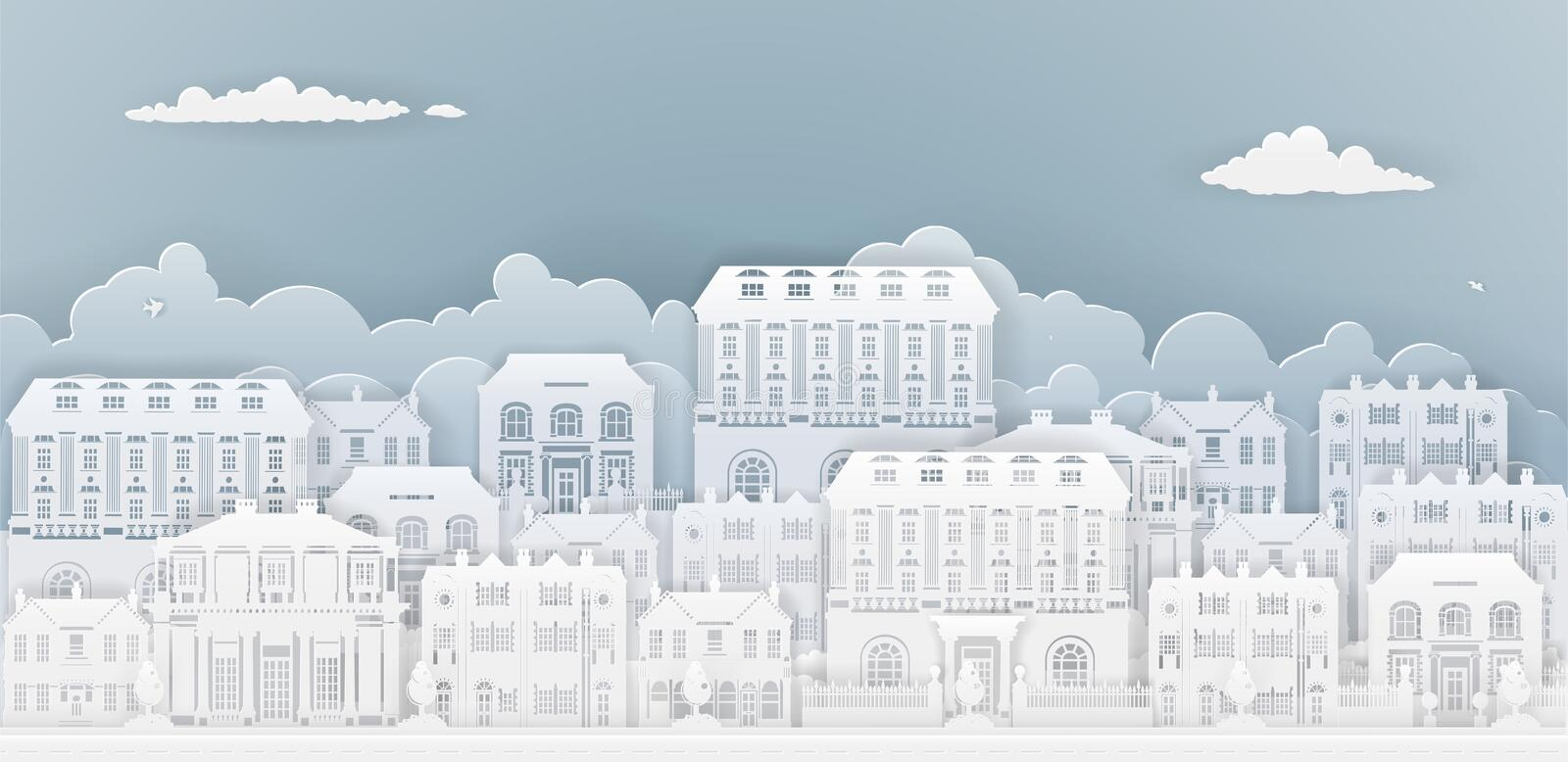 Paper Houses Row. Row of houses and buildings in silhouette in old Georgian or Victorian styles on a smart or posh street royalty free illustration