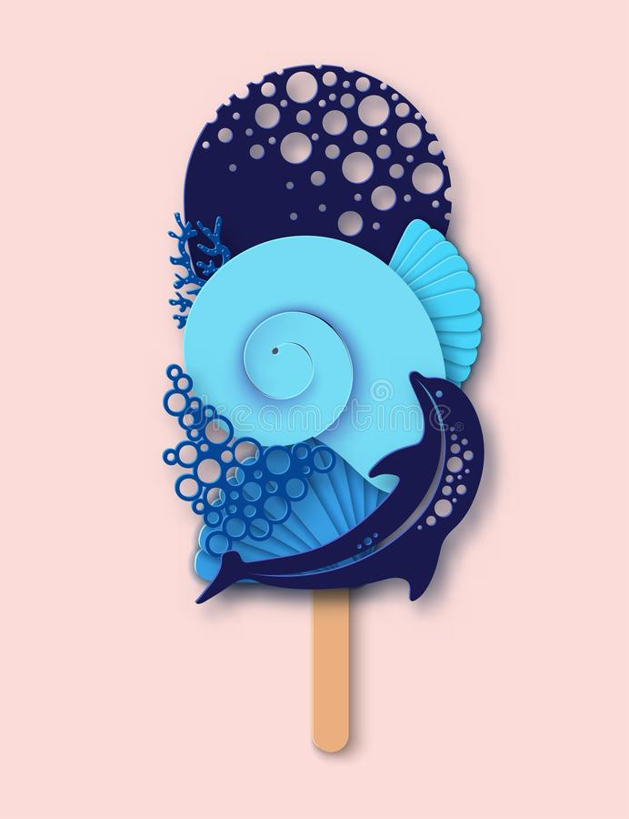 Paper ice cream made of dolphin, sea wave, coral and sea shell. Concept of summer beach vacation. Paper cut modern design royalty free illustration