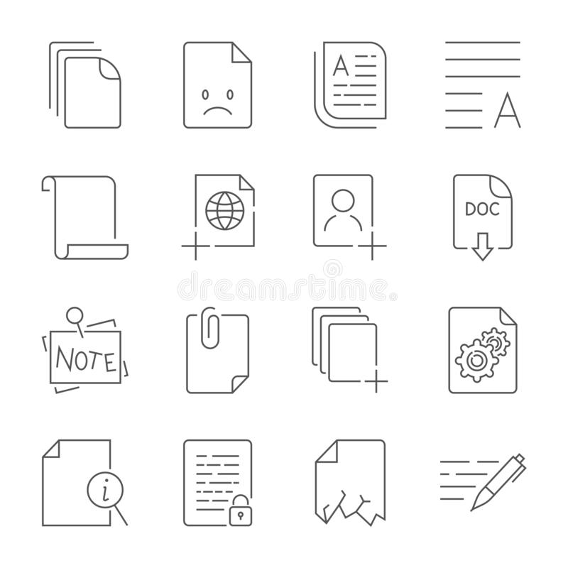 Paper icon, Document icon. Editable Stroke vector illustration
