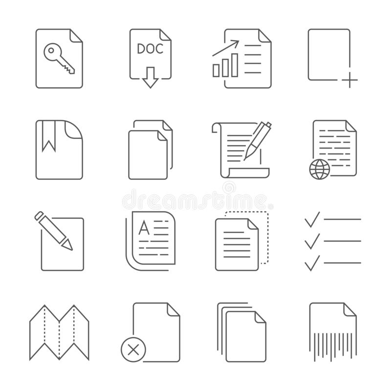 Paper icon, Document icon. Editable Stroke royalty free illustration