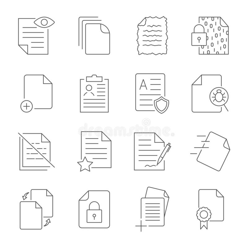 Paper icon, Document icon, Vector Illustration stock illustration