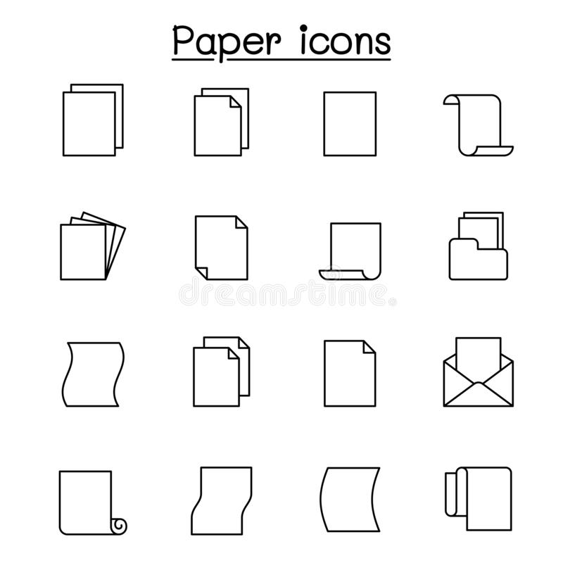 Paper icon set in thin line style vector illustration