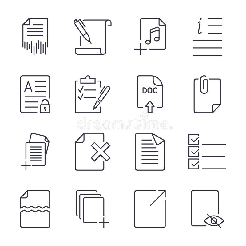 Paper icons. Document icons. Vector EPS10. Icon set with editable stroke vector illustration