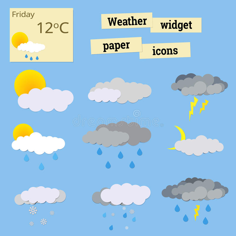 Paper icons weather stock photo