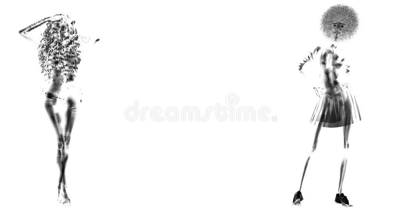 Woman posing paper white and black royalty free illustration