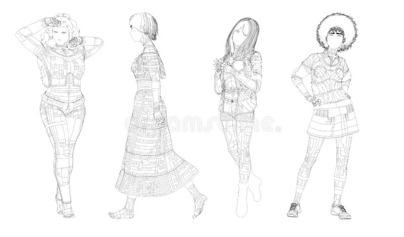 Womans posing paper white and black stock illustration