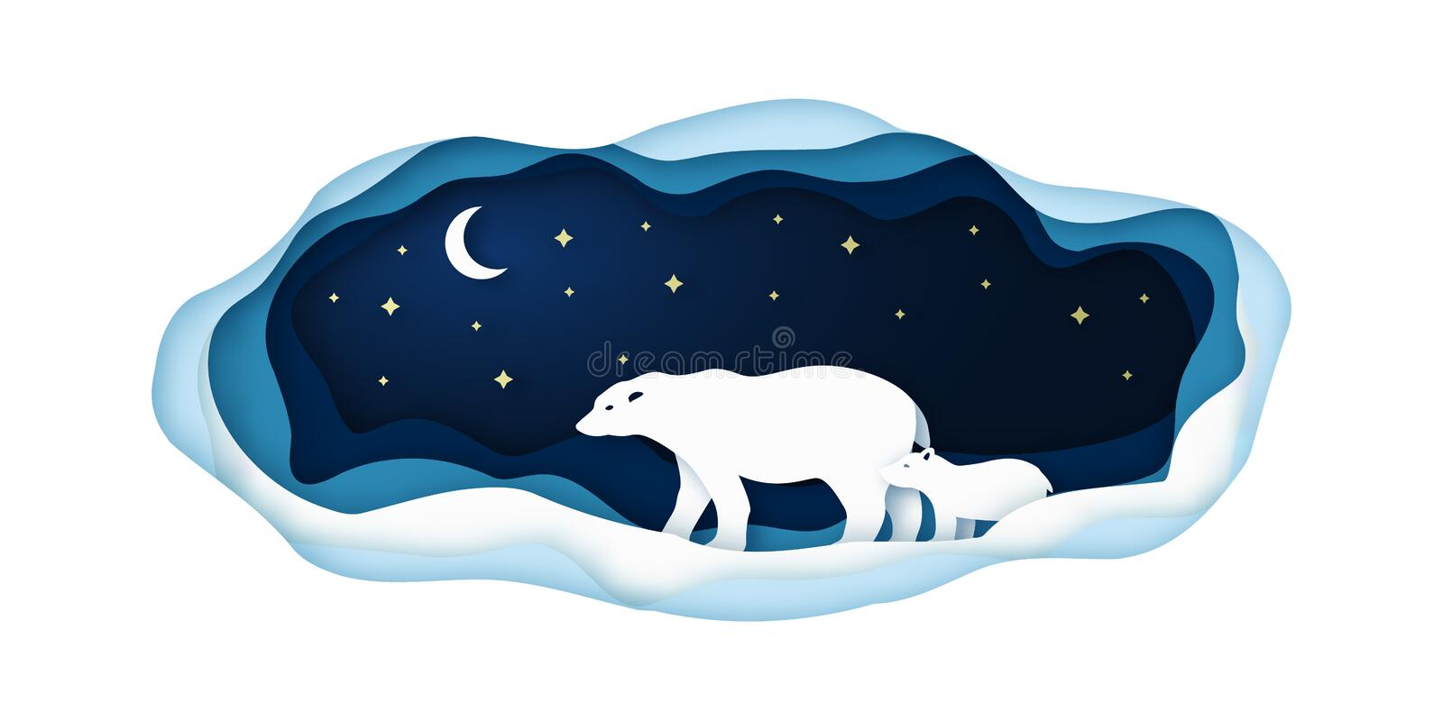 Paper illustration with polar bears going at night on the north pole. royalty free illustration