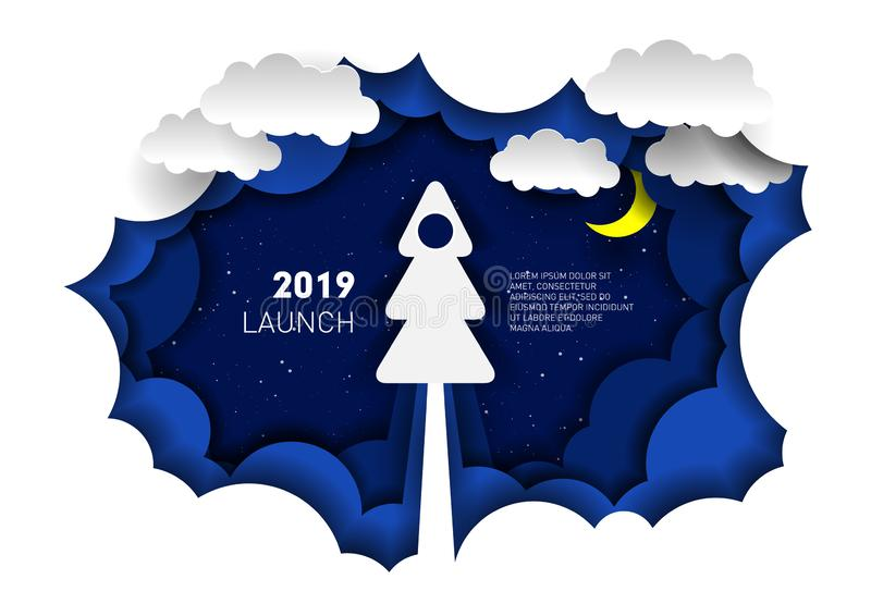 Paper illustration of a rocket in the form of a Christmas tree. Paper-cut style. New year and Christmas royalty free illustration