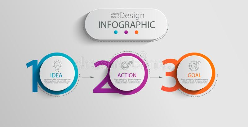 Paper infographic template with 3 circle options. stock illustration