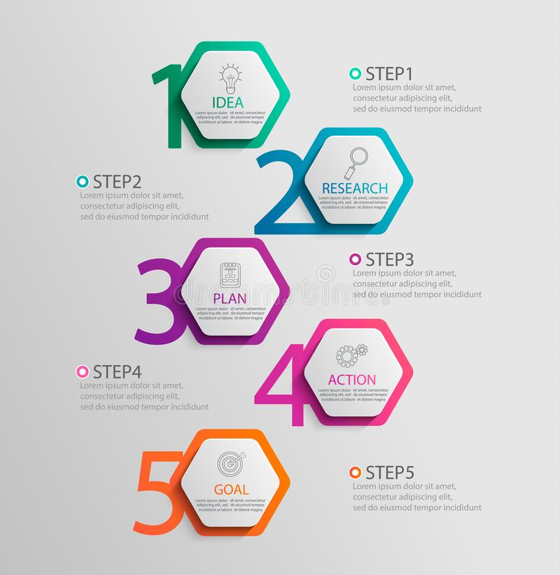 Paper infographic vertical template with 5 hexagon options. Paper vertical infographic template with 5 hexagon options for presentation and data visualization vector illustration