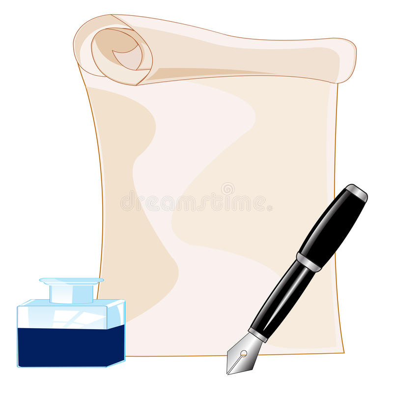 Paper and ink with feather. Paper and feather with ink on white background is insulated vector illustration