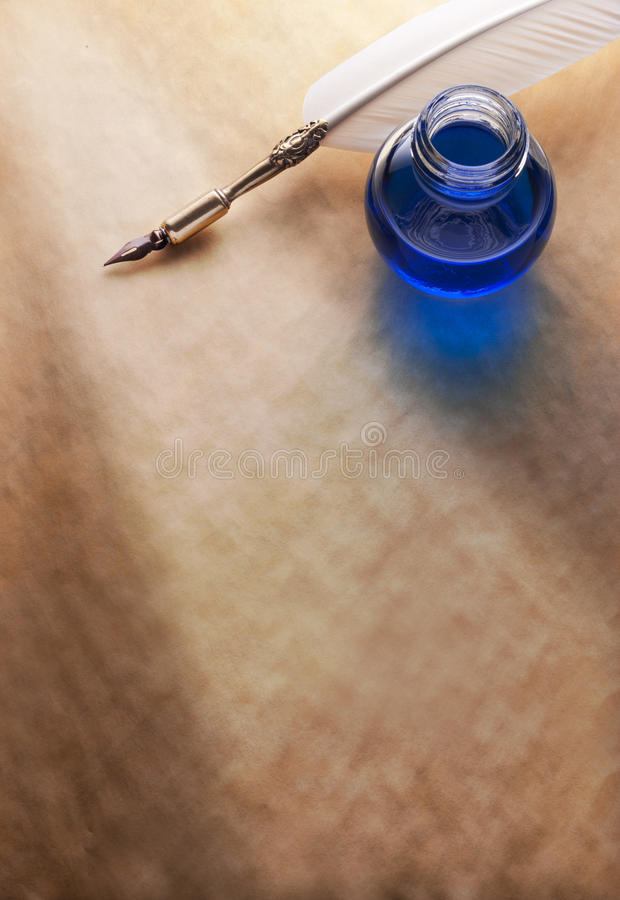Paper Ink Quill Pen Background Stock Photo - Image of ...