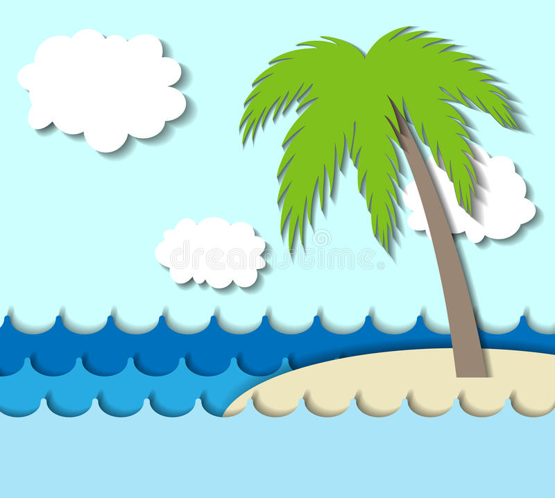 Download Paper Island With Palm Tree Stock Vector - Image: 33104056