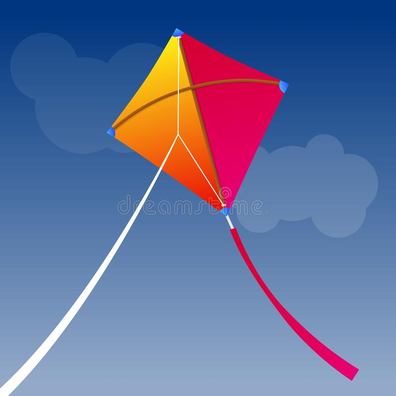 Paper kite flying on sky. stock illustration