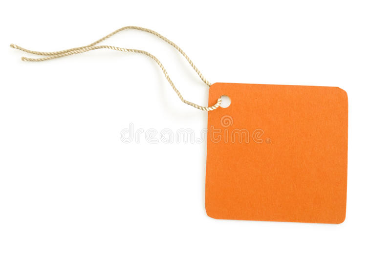 Paper label orange color. Isolated on white royalty free stock image