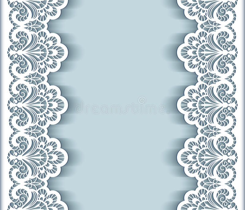 Wedding Boarder Paper: Paper Lace Border Background Stock Vector