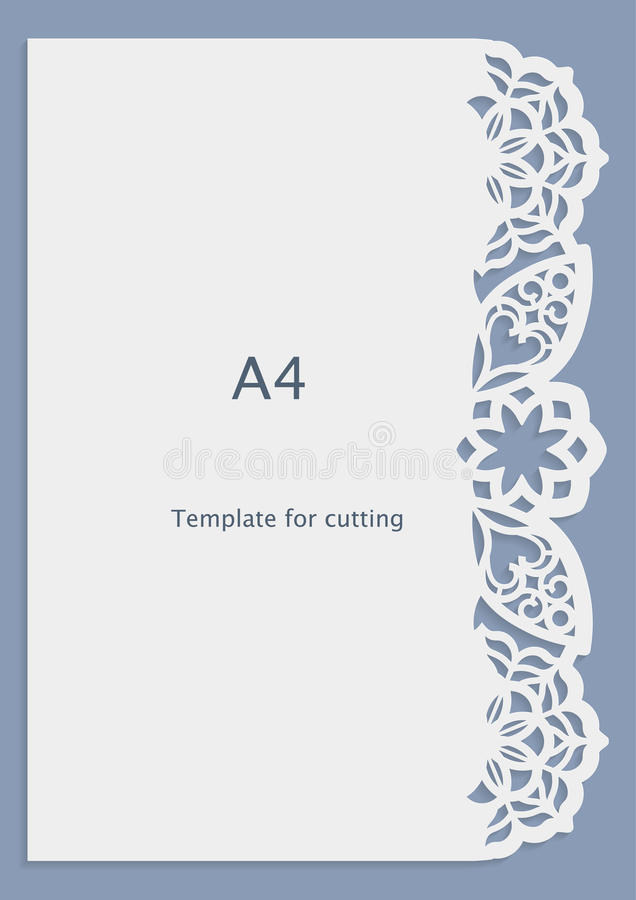 A4 paper lace greeting card, wedding invitation, white pattern, cut-out template, template congratulation, perforation pattern, l vector illustration