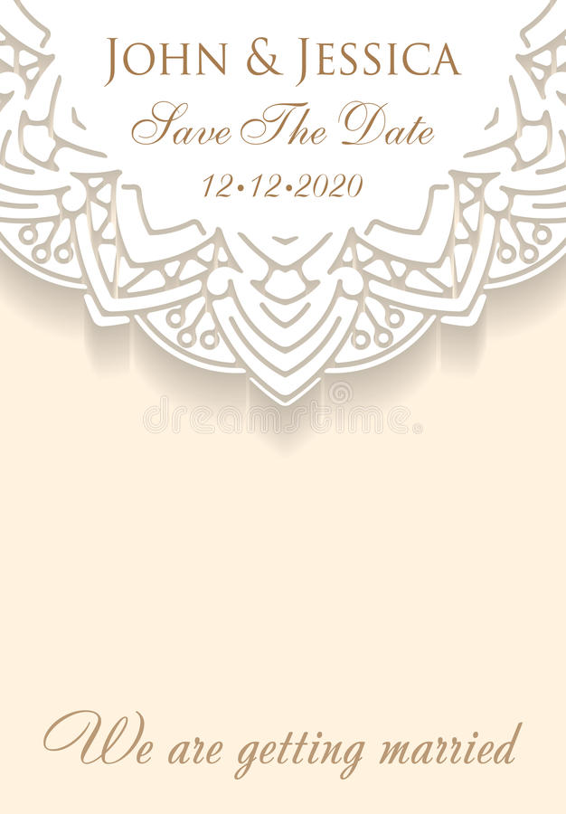 Paper lace ornament, round ornamental doily pattern with empty s. Pace for text. Vector illustration greeting, vintage wedding invitation, save the date wedding vector illustration