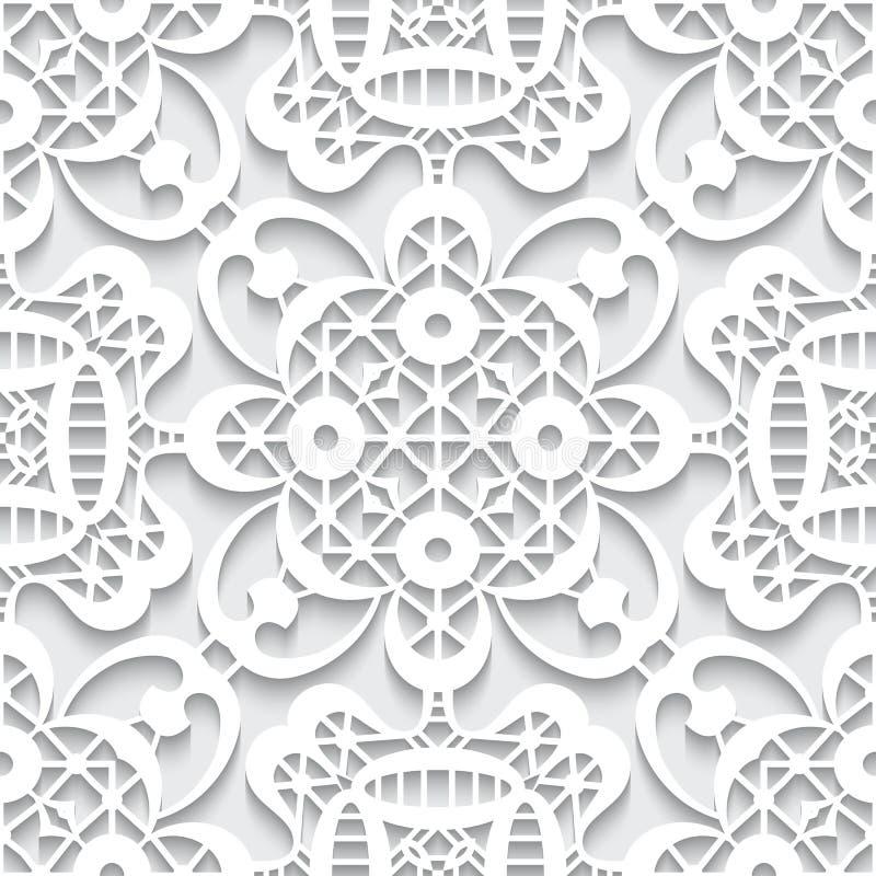 Paper lace texture, seamless pattern. Cutout paper ornament, white lace texture, seamless lace pattern stock illustration