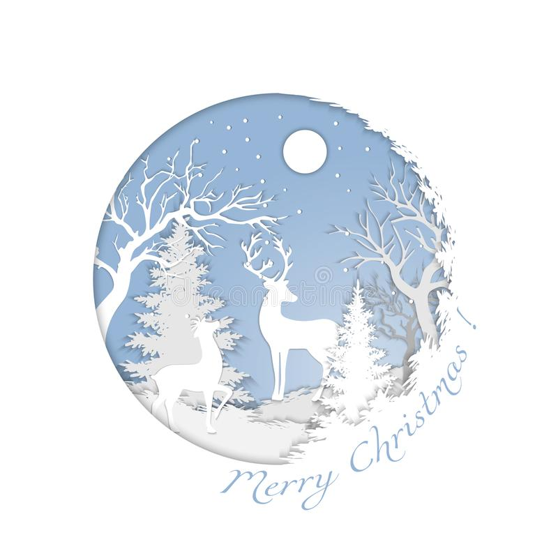 Paper landscape of a magical Christmas and a happy new year. Cutting paper. vector royalty free illustration