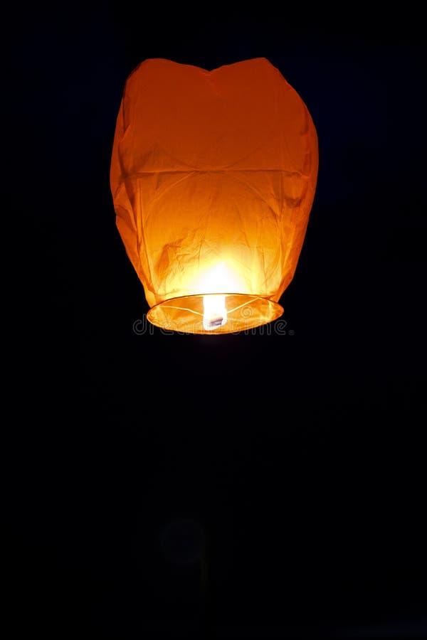 Paper lantern isolated on black background stock photo