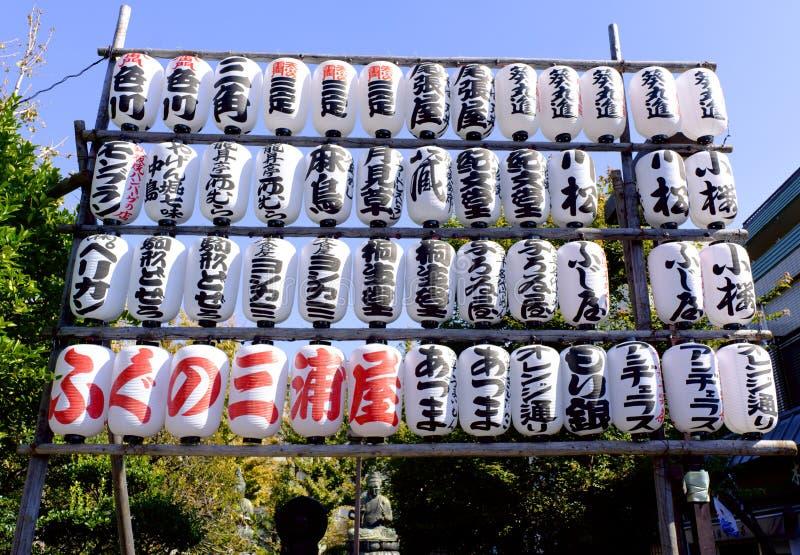 Paper lanterns arranged in Asakusa Temple stock images