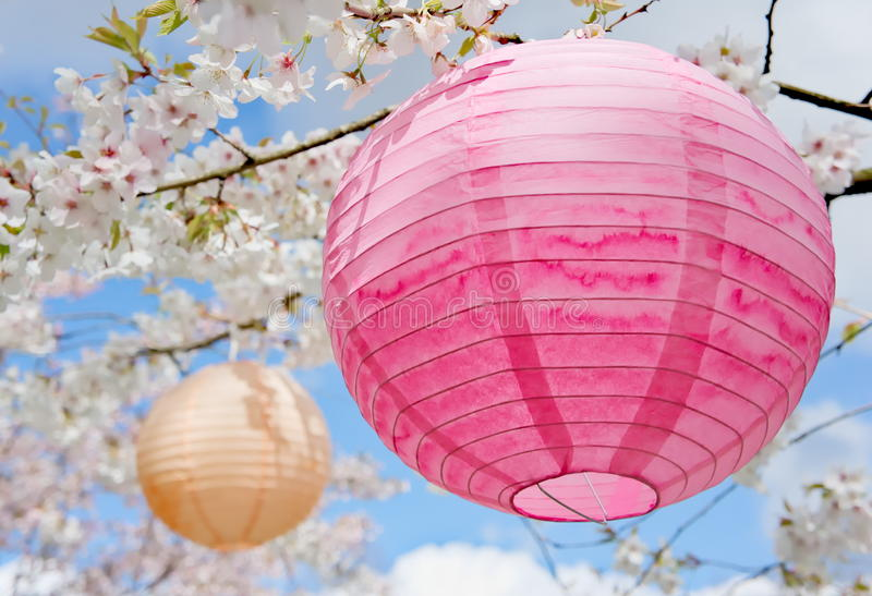 Paper lanterns hanami decoration royalty free stock photo