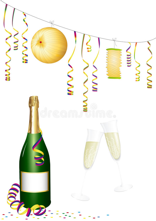 Paper Lanterns and paper streamer. Party decoration and sparkling wine vector illustration