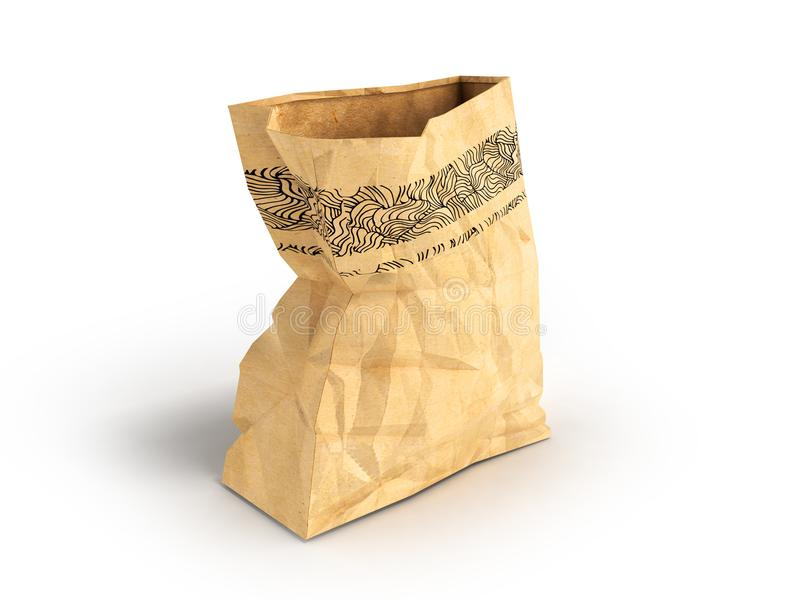 Paper large open package on the left 3d render on a white background with a shadow. Heavy paper bags of coated paper are suitable for packaging various purchases stock illustration