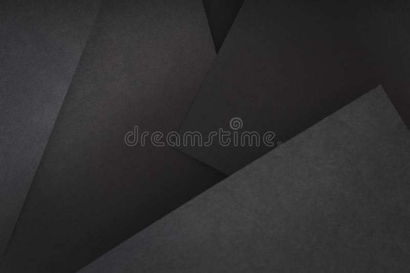 Paper layer abstract geometric black sheet collage stock image