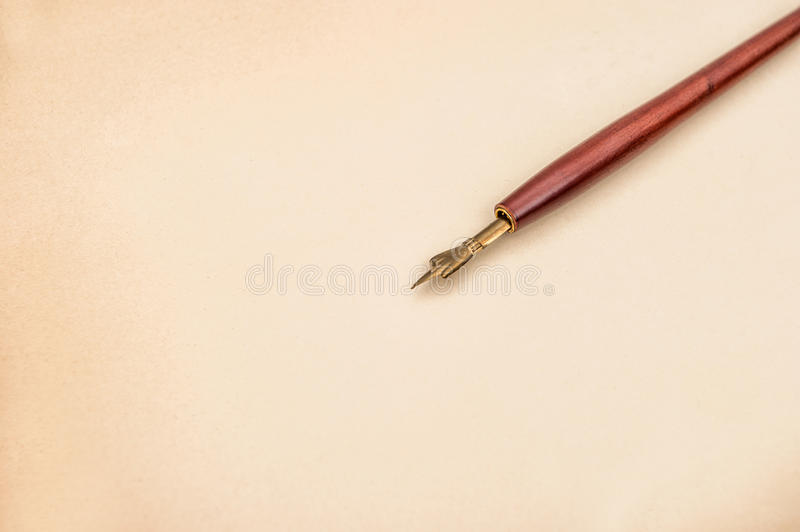 Paper for a letter with antique ink pen. Vintage style background stock image