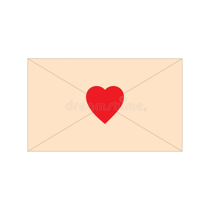Paper letter, envelope, with red heart shape icon. Love mail message vector illustration. Romance symbol sign royalty free illustration