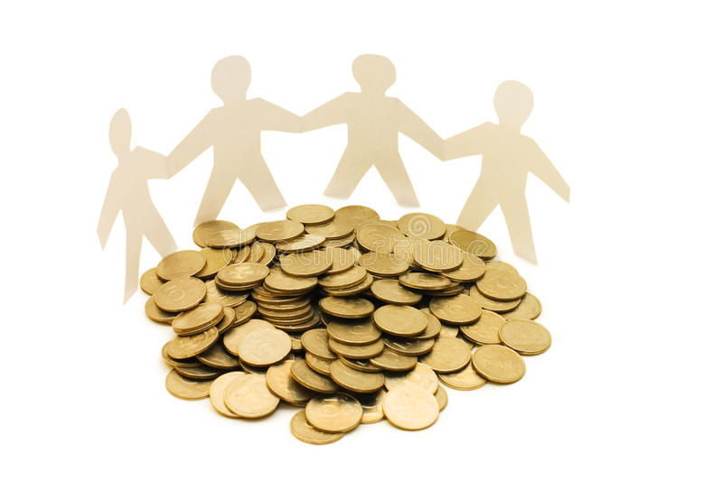 Paper little men with money royalty free stock image
