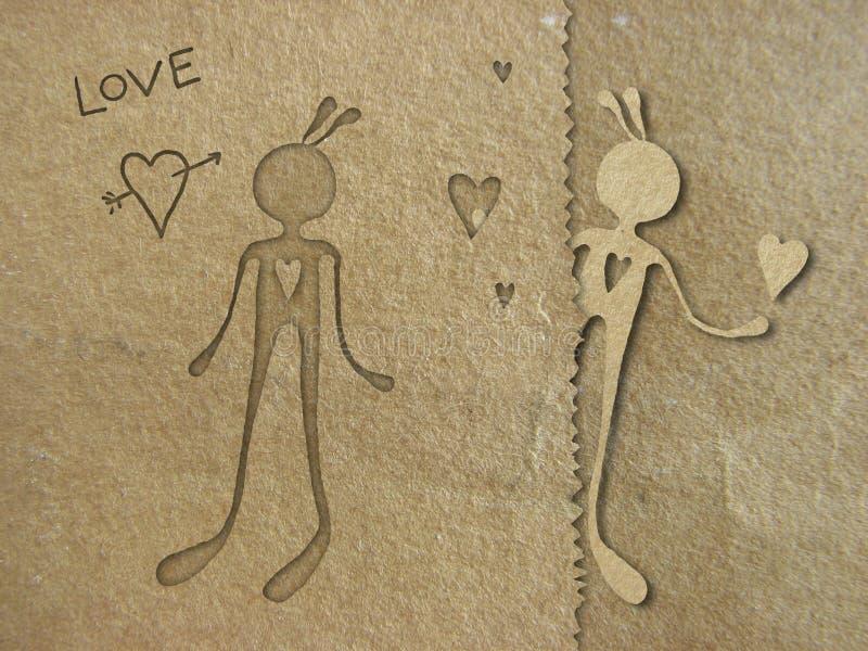 Paper in love stock illustration