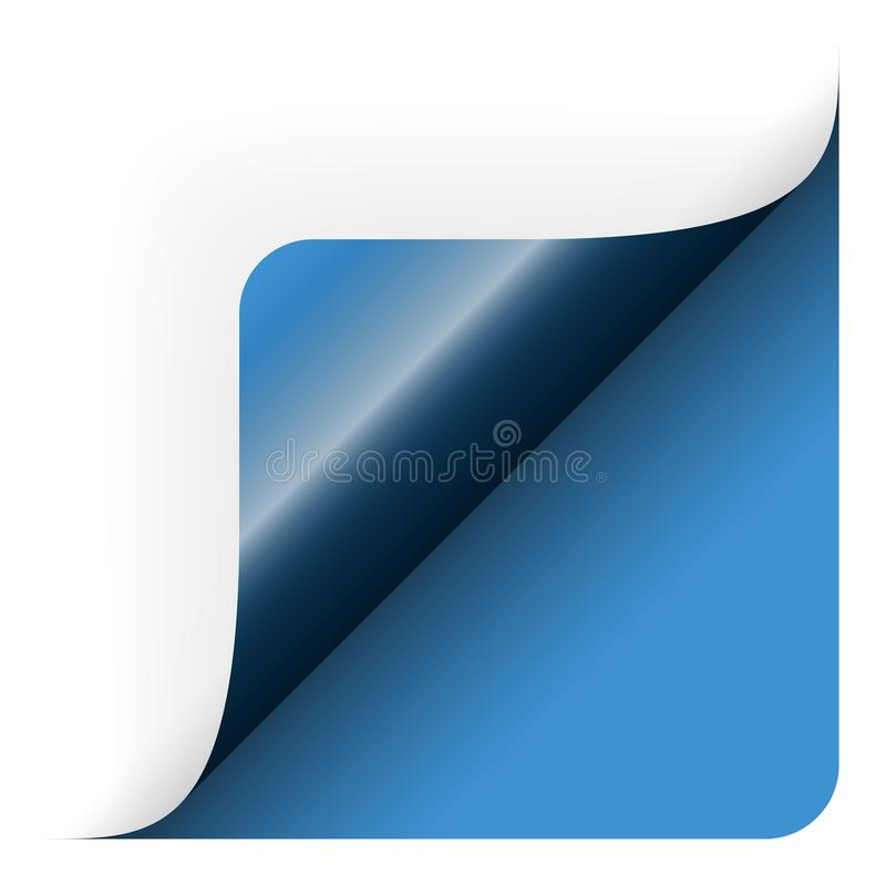 Paper lower right corner. Paper chit corner edge note broadsheet list curved page turn bend opened over scroll remove pull sticker bottom lower right rounded stock illustration