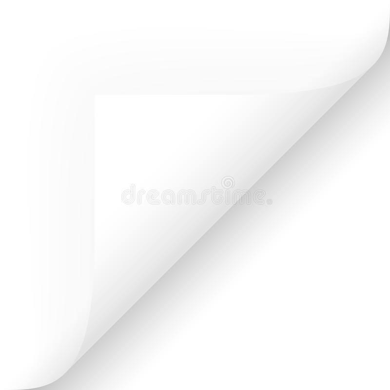 Paper lower right corner. Paper chit corner edge note broadsheet list curved page turn bend opened over scroll remove pull sticker bottom lower right background royalty free illustration