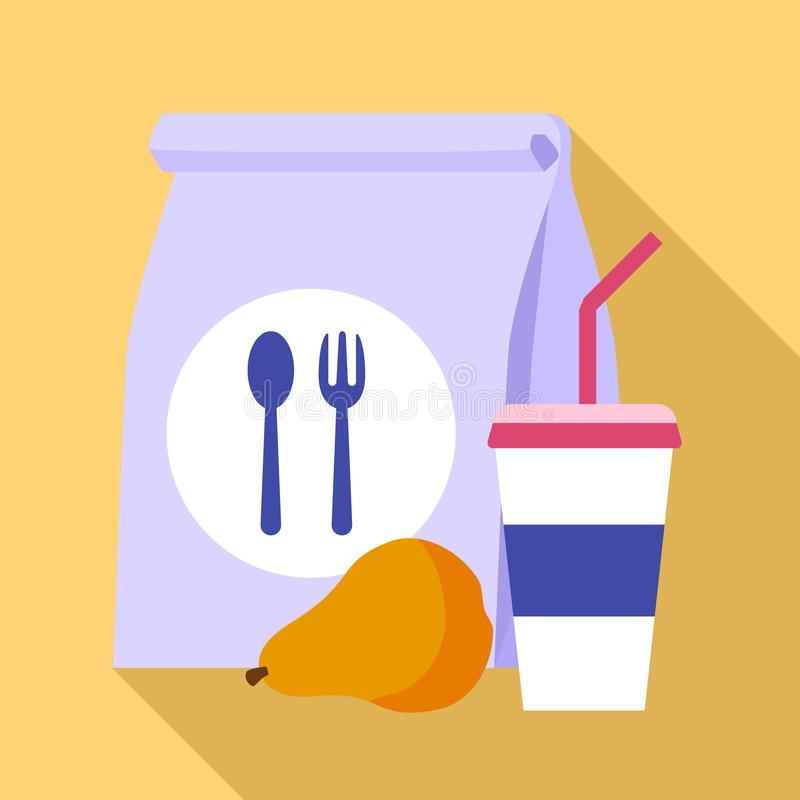 Paper lunch bag icon, flat style vector illustration