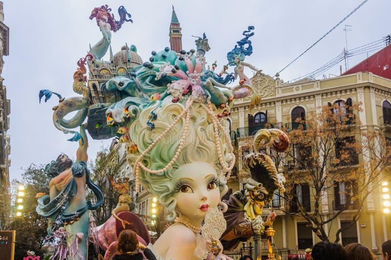 Paper mache figures in Las Fallas, Valencia, Spain. Colorful paper mache figures in the Las Fallas Festival in Valencia, Spain stock image