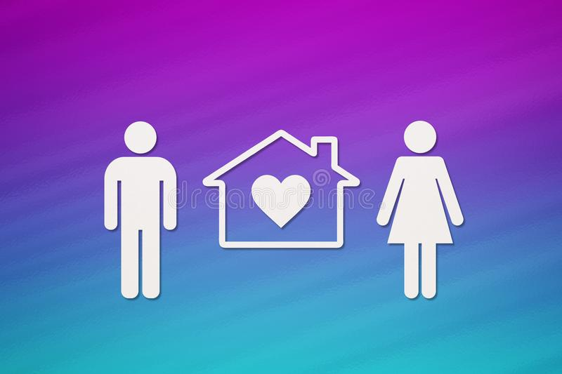 Paper man, woman and house. Housing, family concept. Abstract conceptual royalty free illustration