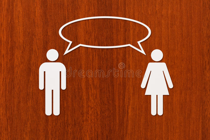 Paper man and woman is talking. Relation concept. Abstract conceptual royalty free stock photos