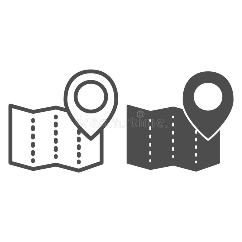 Paper map with pin line and glyph icon. Location vector illustration isolated on white. Map navigation outline style. Design, designed for web and app. Eps 10 vector illustration