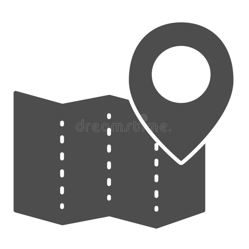 Paper map with pin solid icon. Location vector illustration isolated on white. Map navigation glyph style design. Designed for web and app. Eps 10 vector illustration